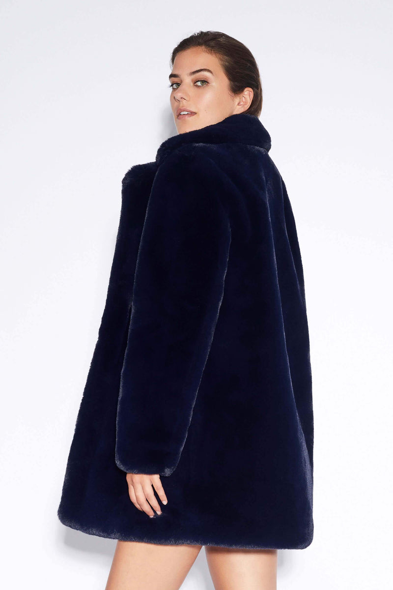 Apparis Sophie Faux Fur Jacket Navy
