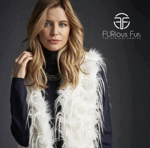 White Cropped Faux Fur Vest