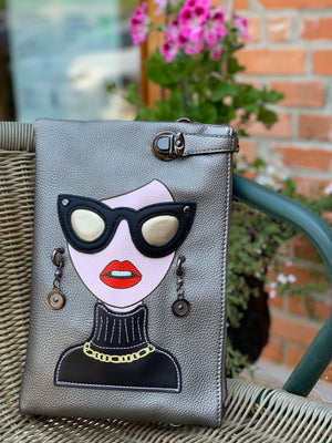 Large Face Clutch Chloe Silver