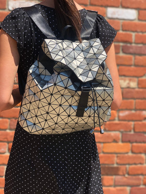 Geometric Patent Backpack Silver