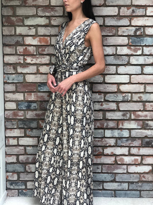 Brown Snake Sleeveless Jumpsuit