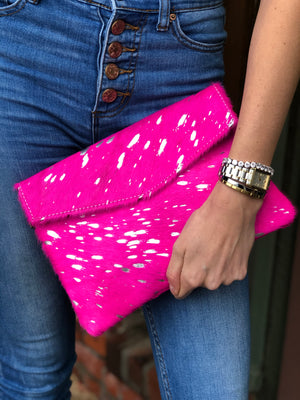 Anna Hot Pink Pony Hair Clutch