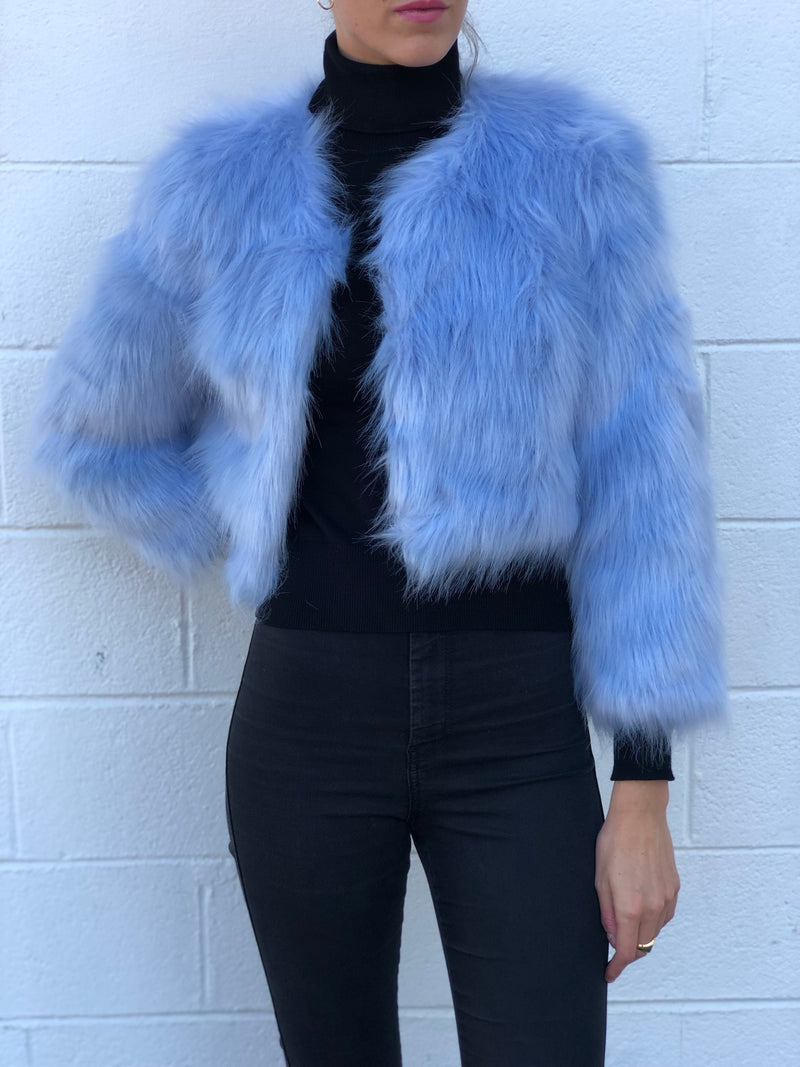Michigan Ave Faux Fur Jacket Light Blue