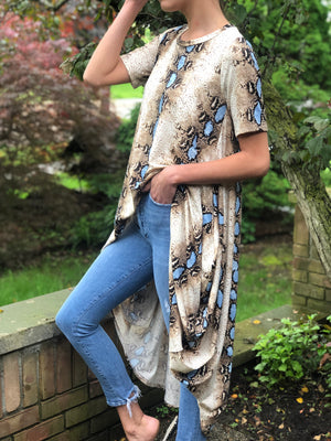 High-Low Tunic Blue Snake