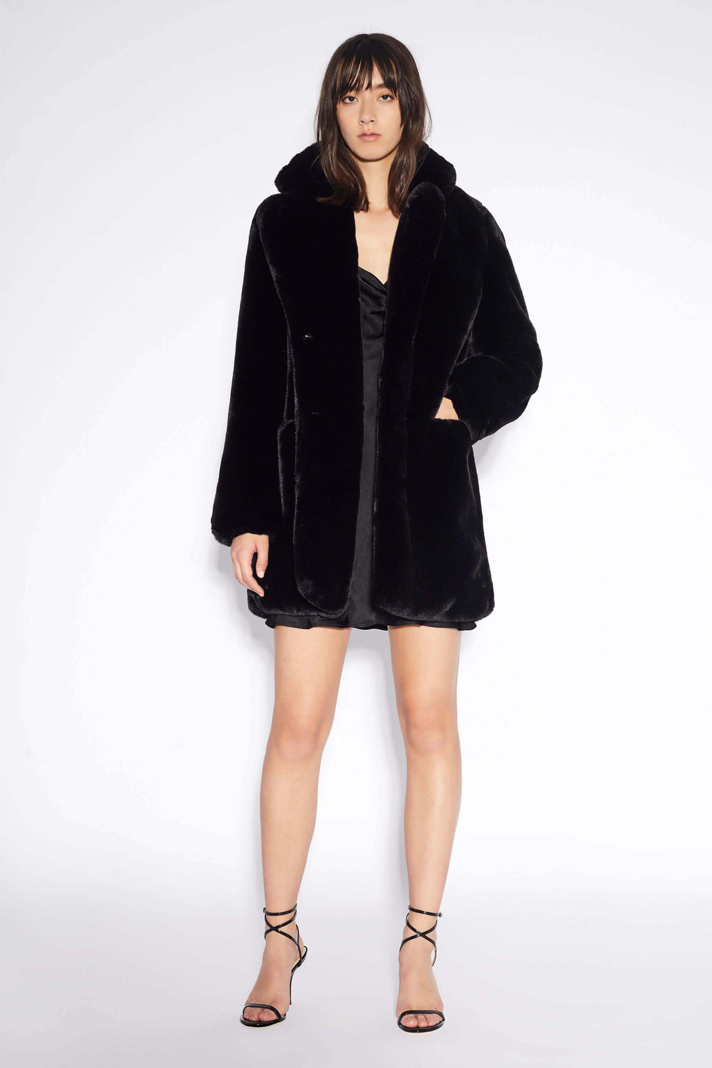 Apparis Sophie Faux Fur Jacket Black