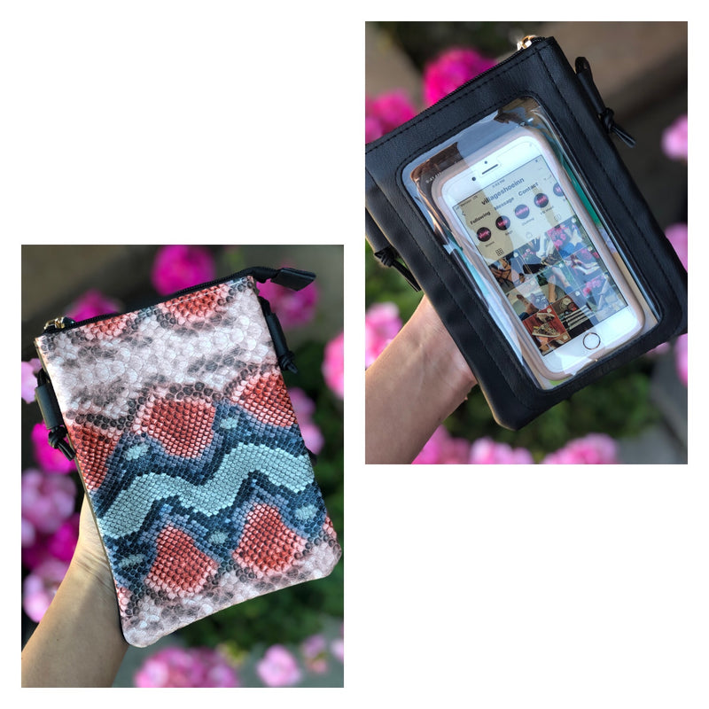 Cell Phone Crossbody Bag Pink Snake