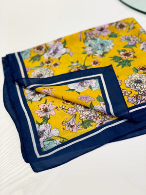 Printed Silk Scarf Gold/Navy