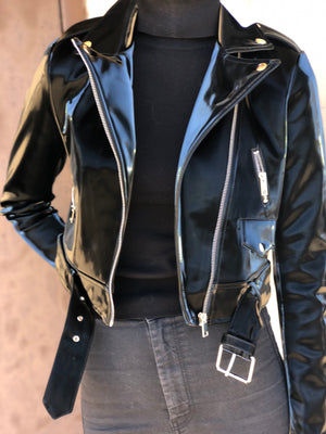 Doja Black Liquid Velvet Moto Jacket