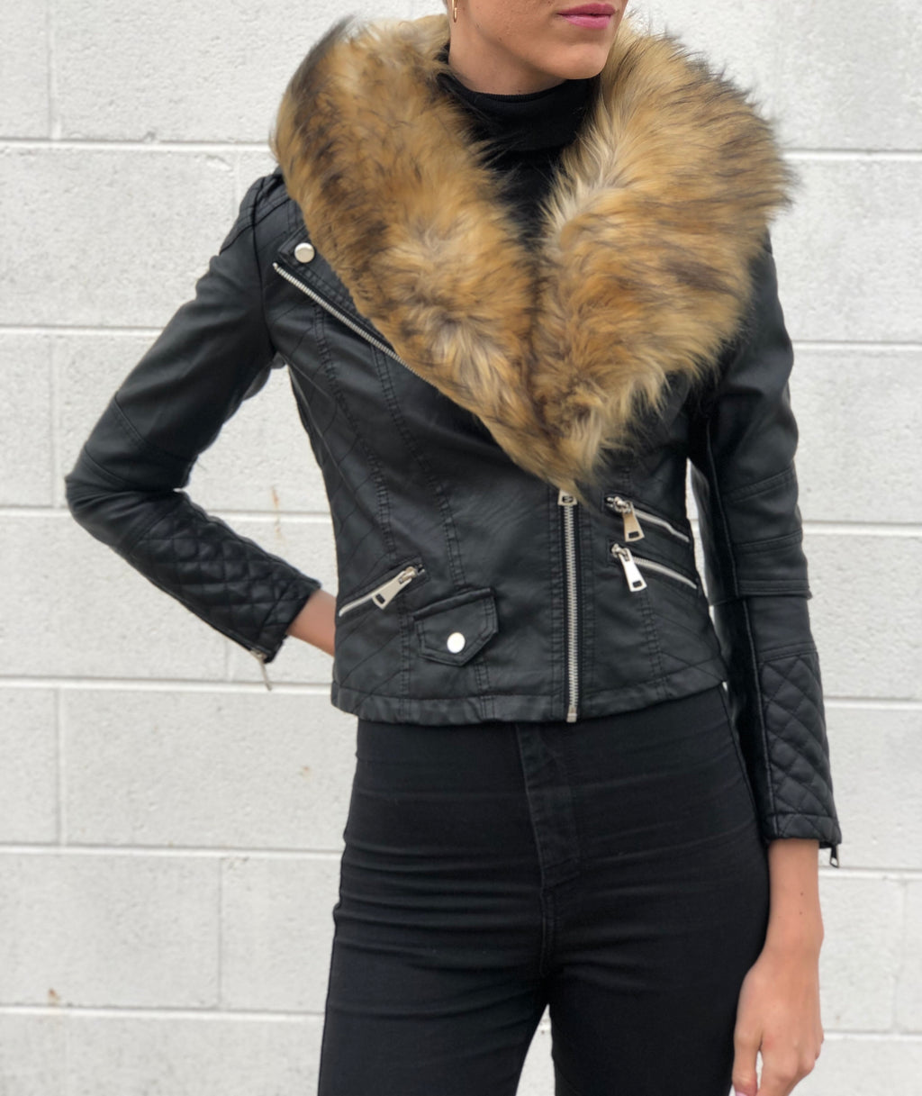Able Fur Collar Moto Jacket Brown