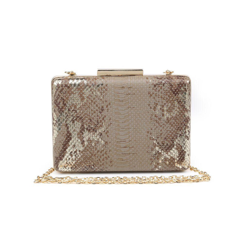 Ivy Taupe Multi Snake Clutch