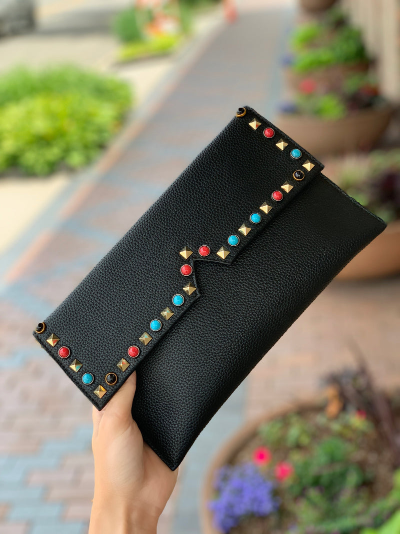 Studded Pebble Clutch Black