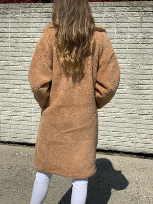 Long Faux Shearling Coat Brown