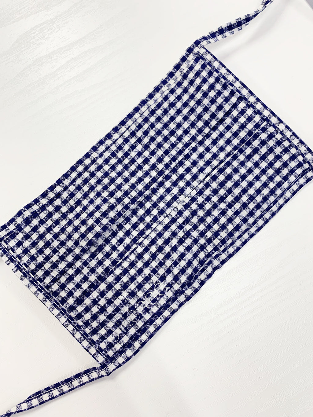 Face Mask Navy/White Check