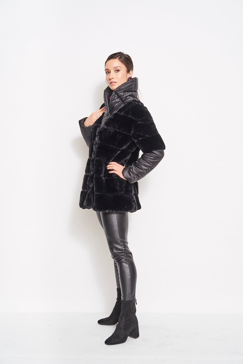 Jasmine Fur & Nylon Coat Black