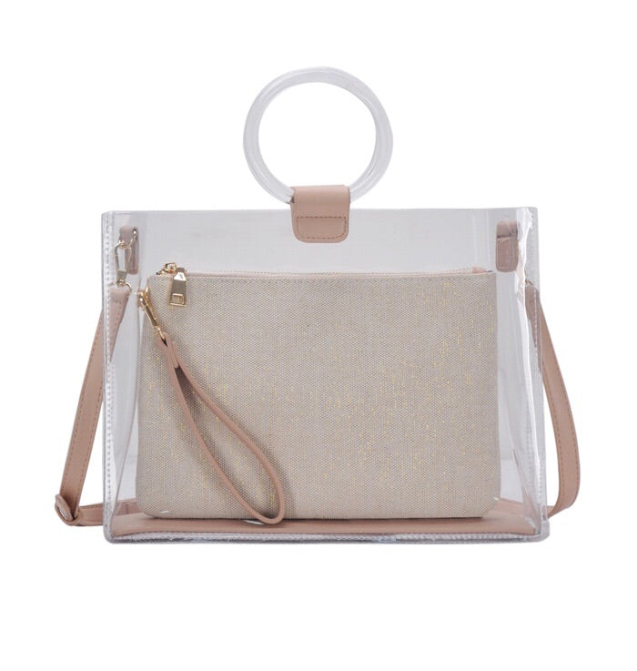 Lucite Circle Handle Tote Mauve Shimmer