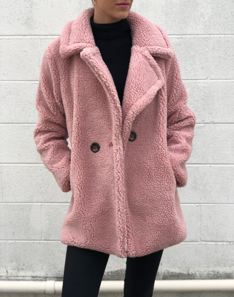 Short Faux Shearling Coat Pink