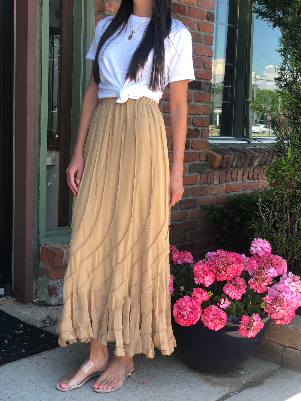 Tulip Long Skirt Beige