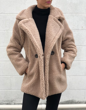 Short Faux Shearling Jacket Brown