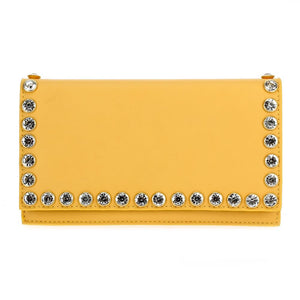 Studded Faux Leather Clutch Yellow