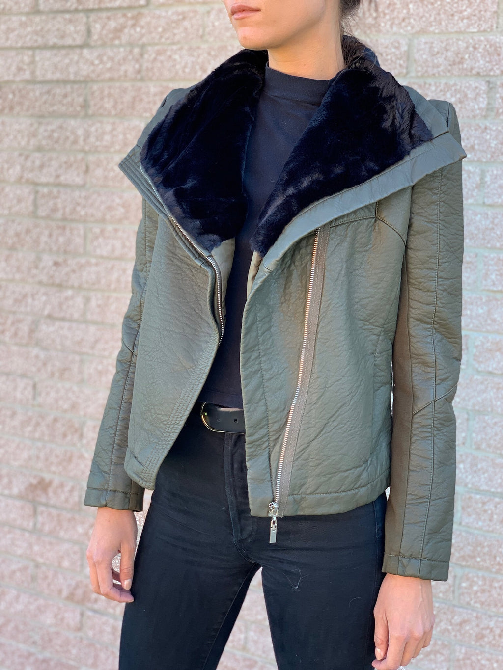 Army Green Faux Bomber