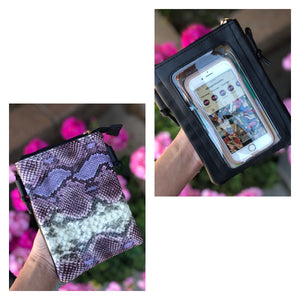 Cell Phone Crossbody Bag Purple Snake