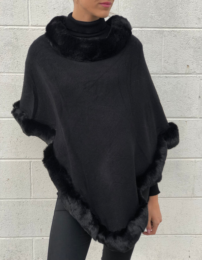 Black Faux Fur Poncho