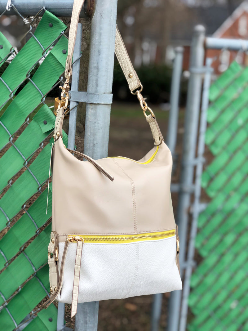 Aubrey Hobo Tote Taupe Yellow