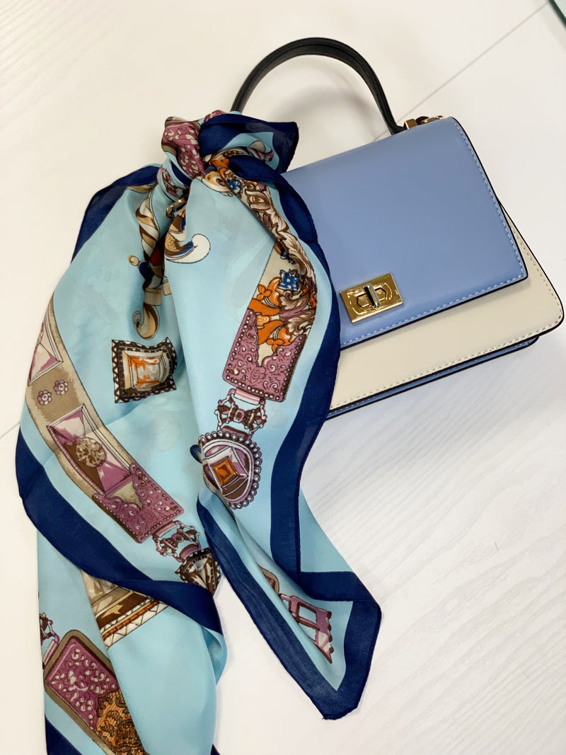 Printed Silk Scarf Turquoise
