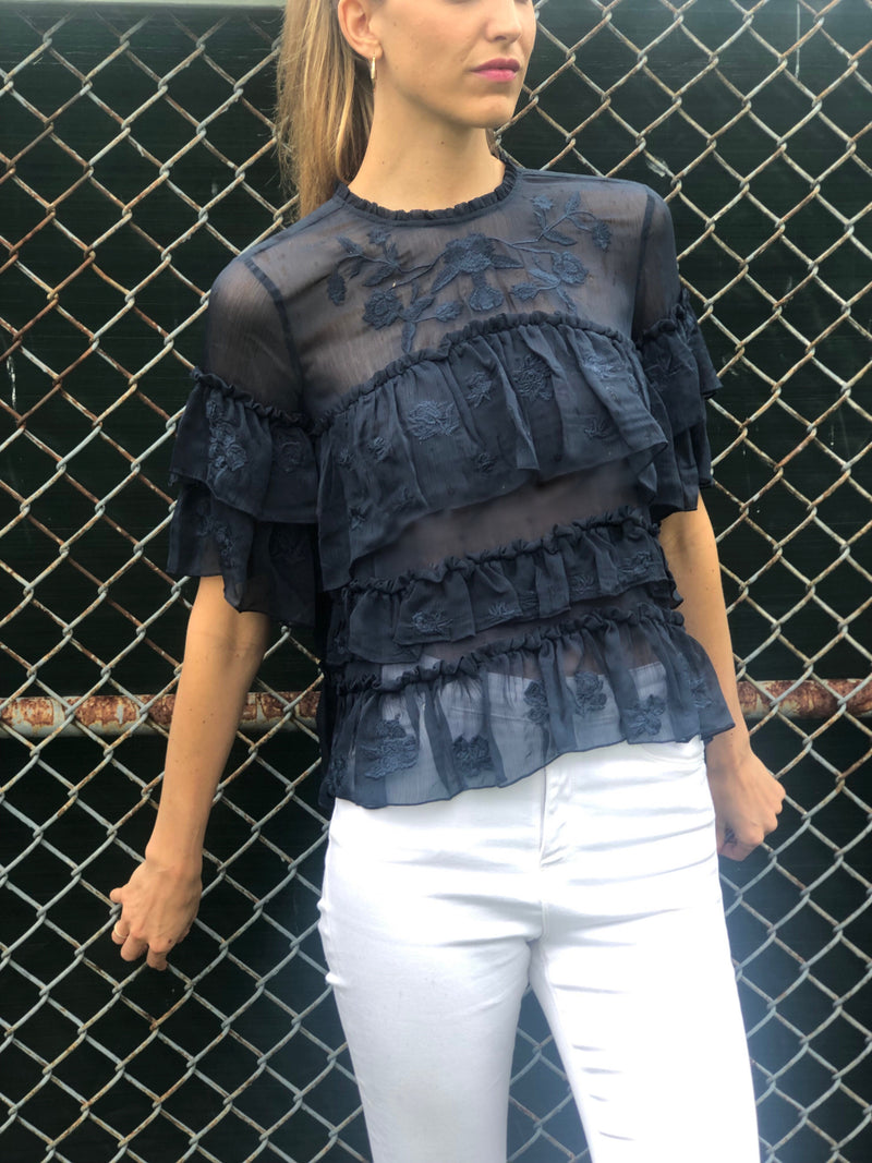 Bella Ruffle Top Navy