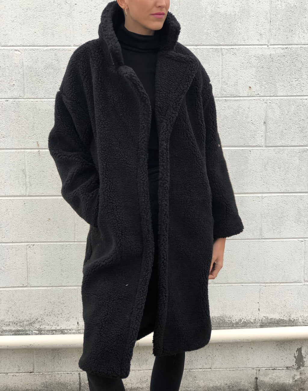 Long Faux Shearling Jacket Black