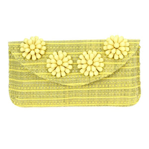 Beaded Flower Clutch Yellow