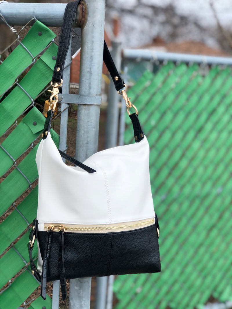 Aubrey Hobo Tote Black White