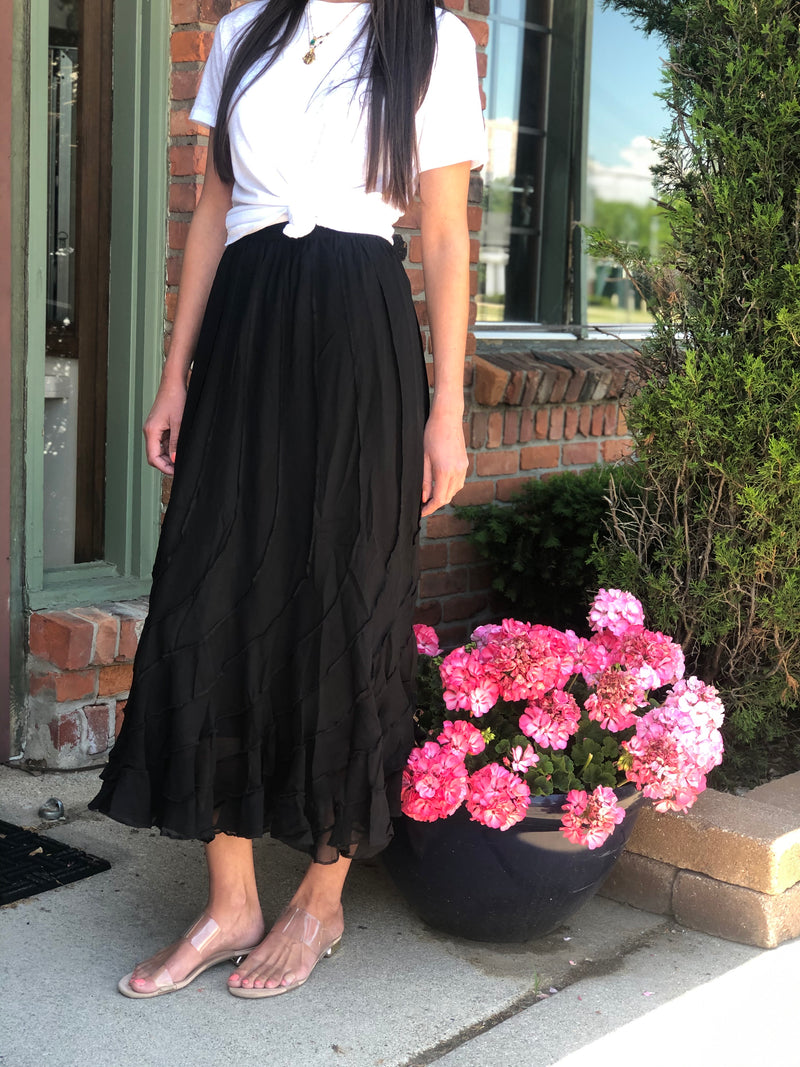 Tulip Long Skirt Black