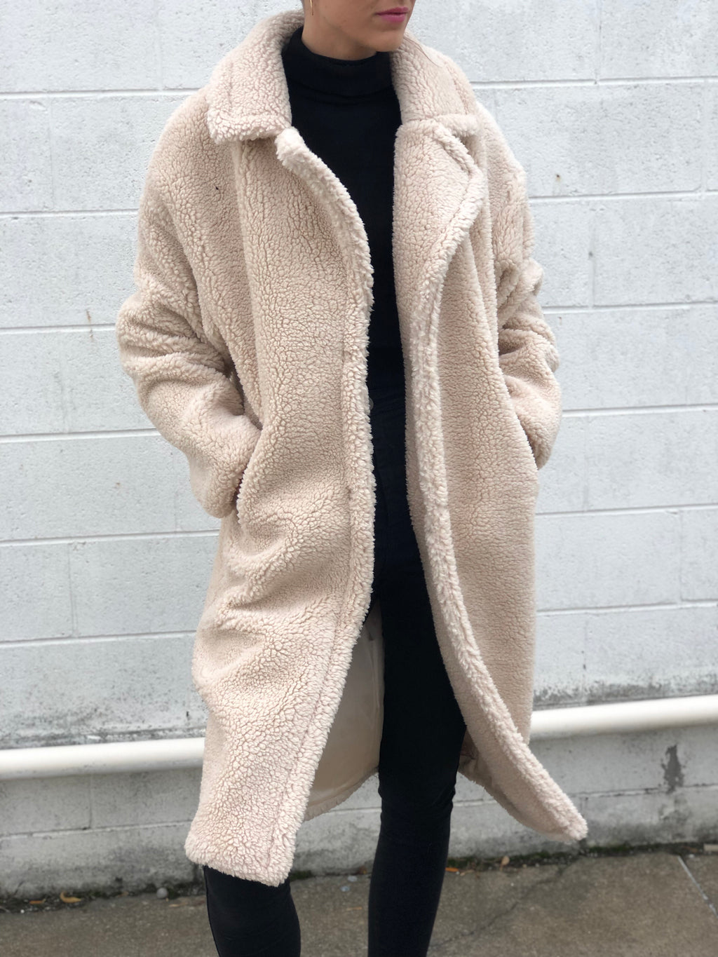Long Faux Shearling Jacket Cream