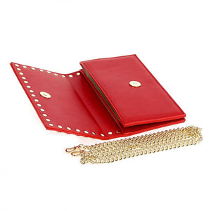 Studded Faux Leather Clutch Red