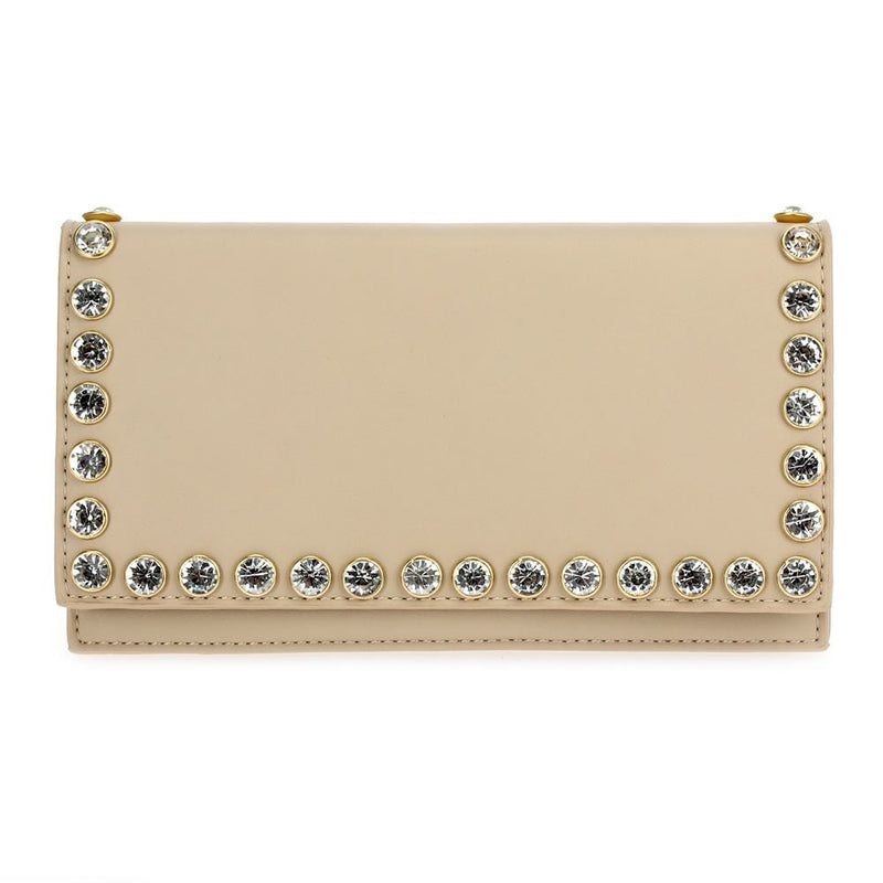 Studded Faux Leather Clutch Beige