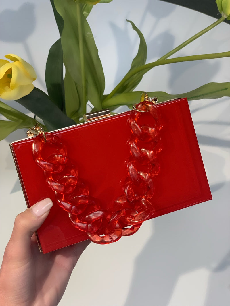 Lizzo Acrylic Clutch Red
