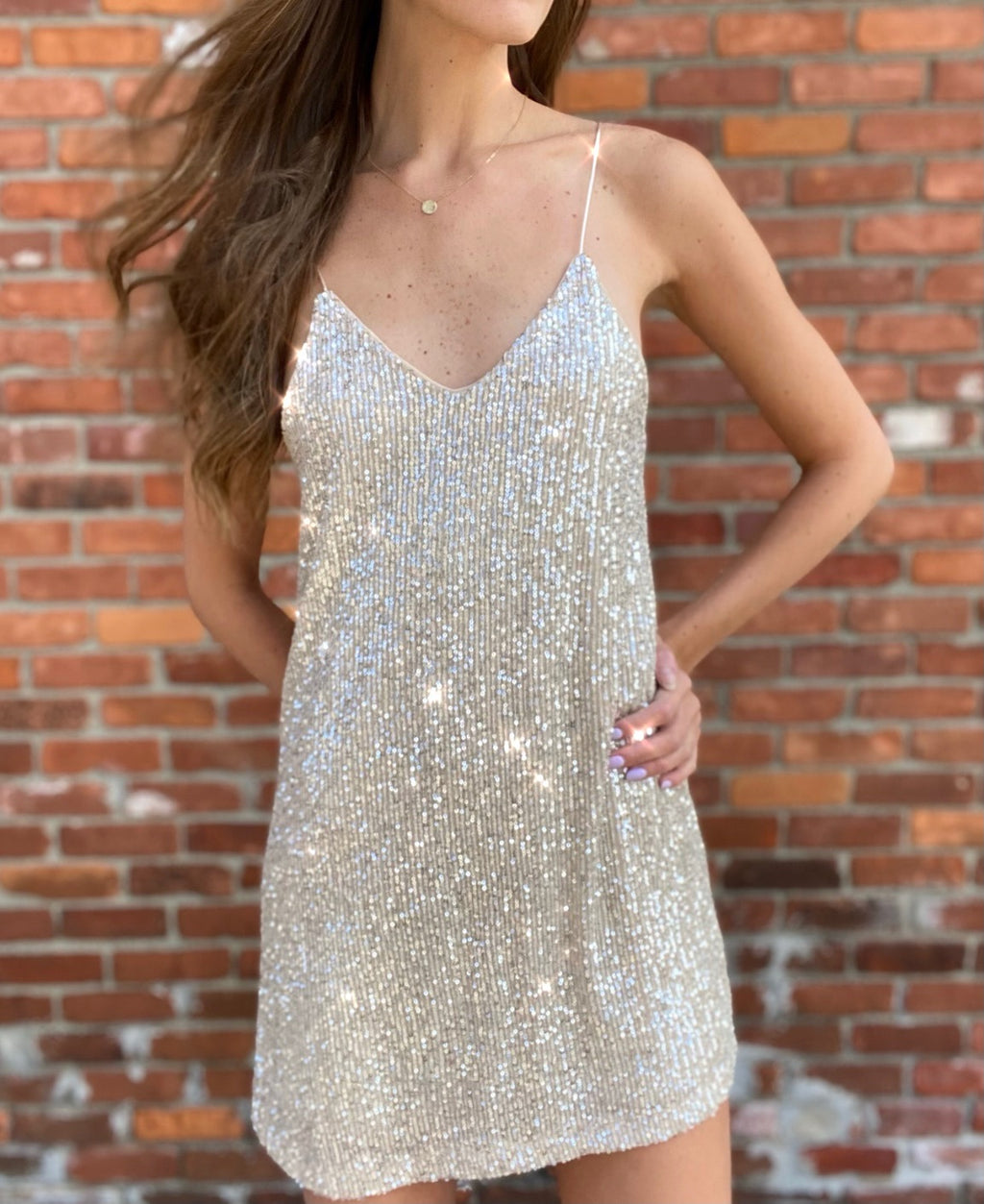 Livy Sequin Dress Champagne