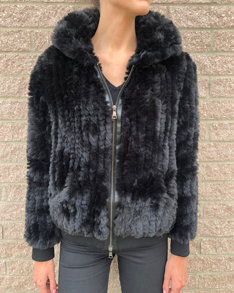 Arianna Faux Fur Bomber Jacket Black