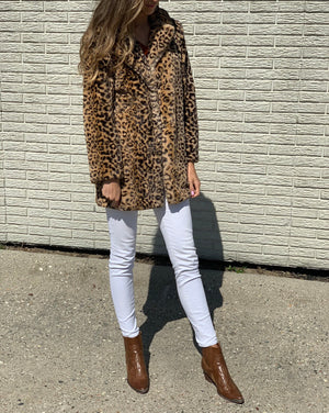 Long Leopard Faux Fur Coat