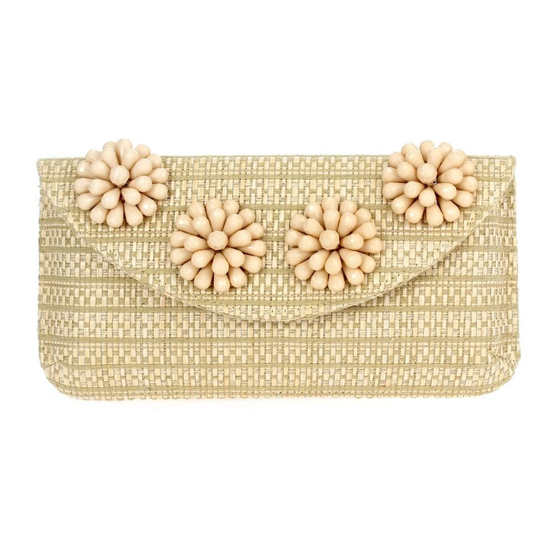 Beaded Flower Clutch Beige