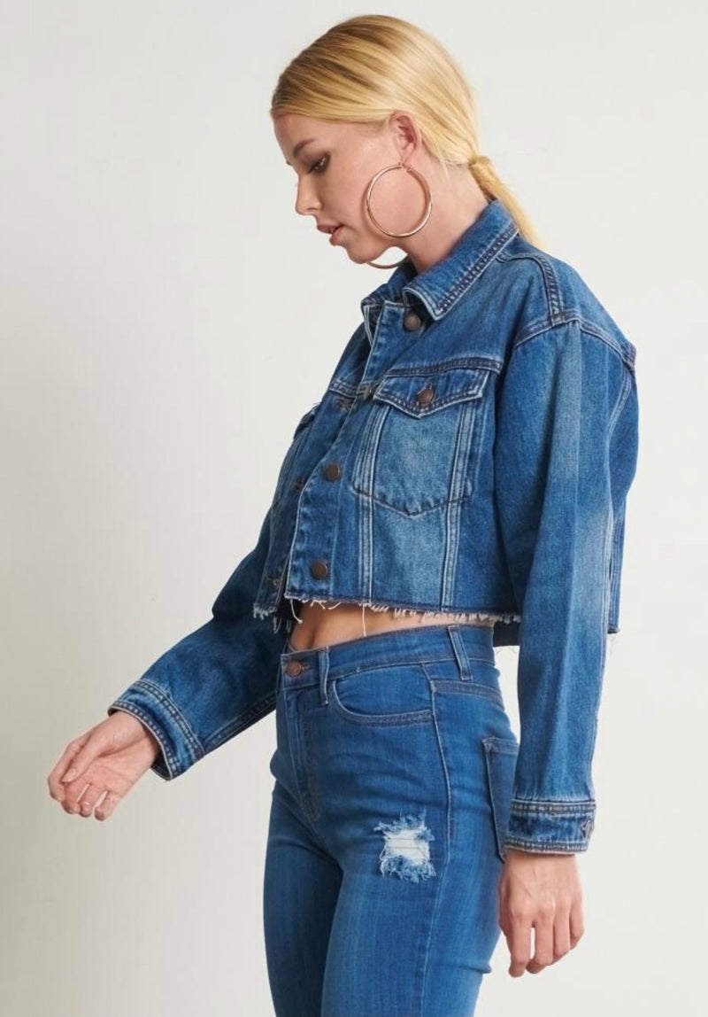 Bailey Cropped Denim Jacket Medium Wash