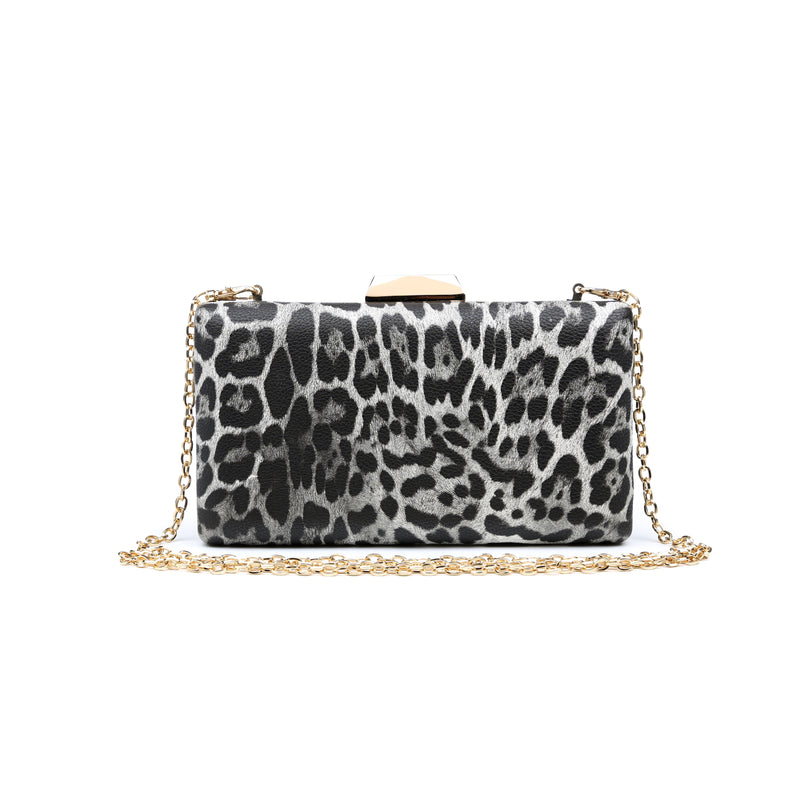 Flora Clutch Black Leopard