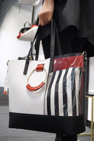 Cassia Tote Black White Red