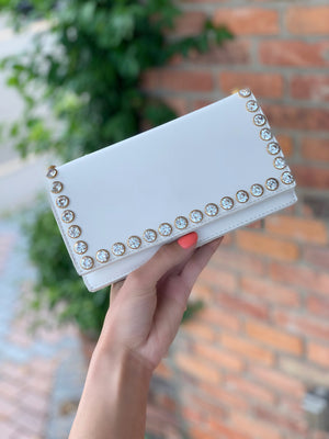 Studded Faux Leather Clutch White