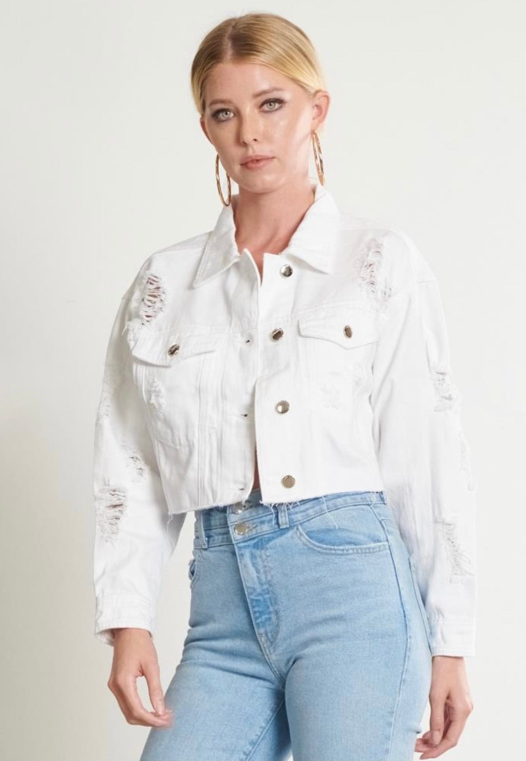 Callie Cropped Denim Jacket White