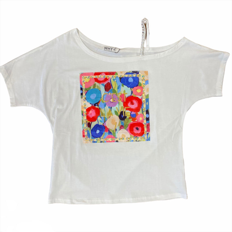 C'est La Vie Open Shoulder Top White