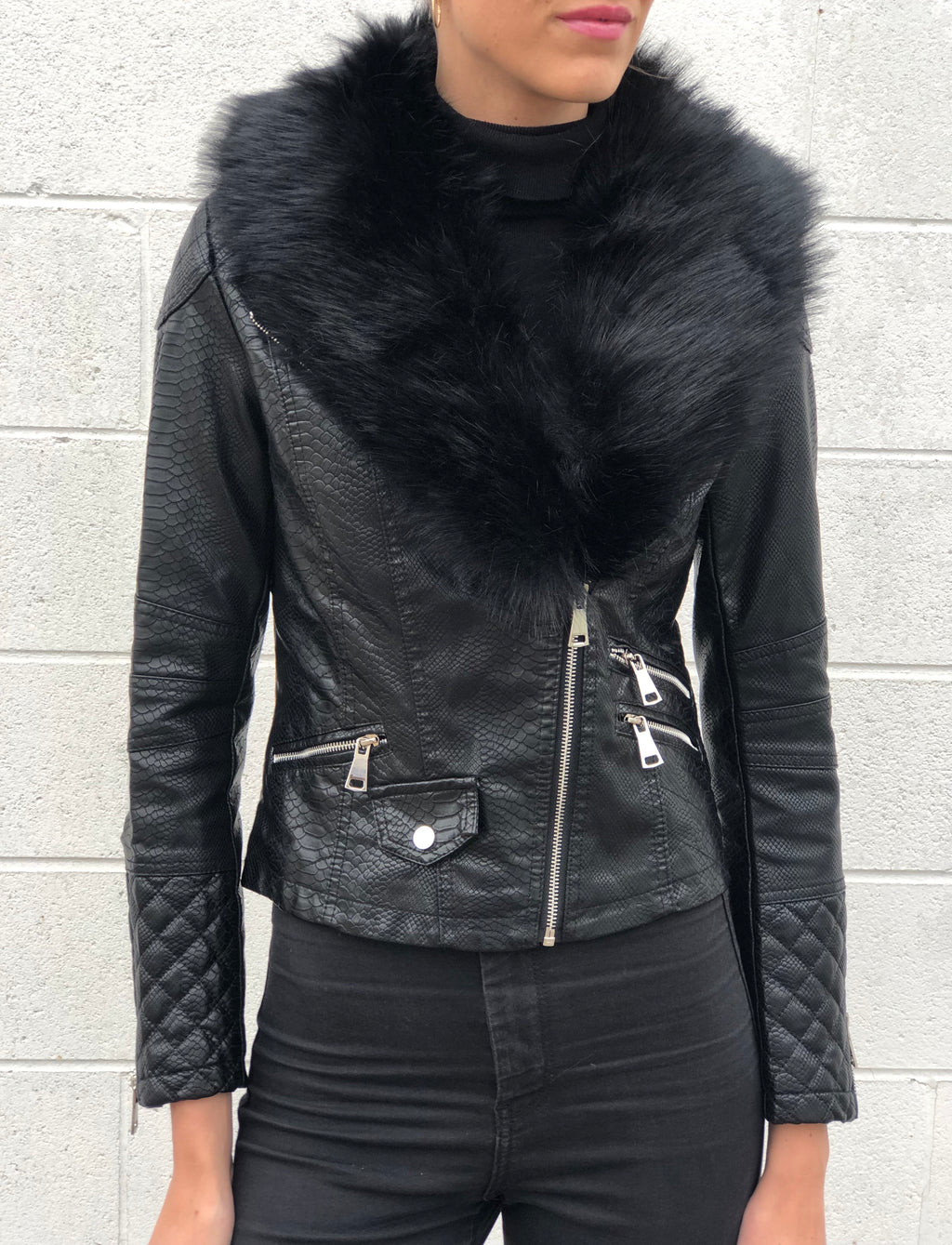 Able Fur Collar Jacket Black