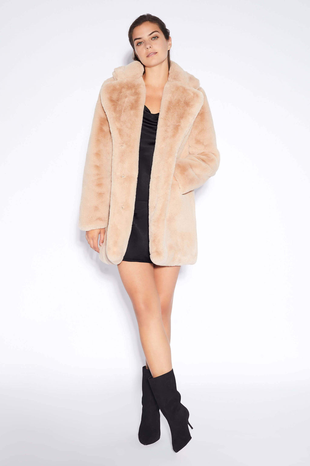Apparis Sophie Faux Fur Jacket Sand