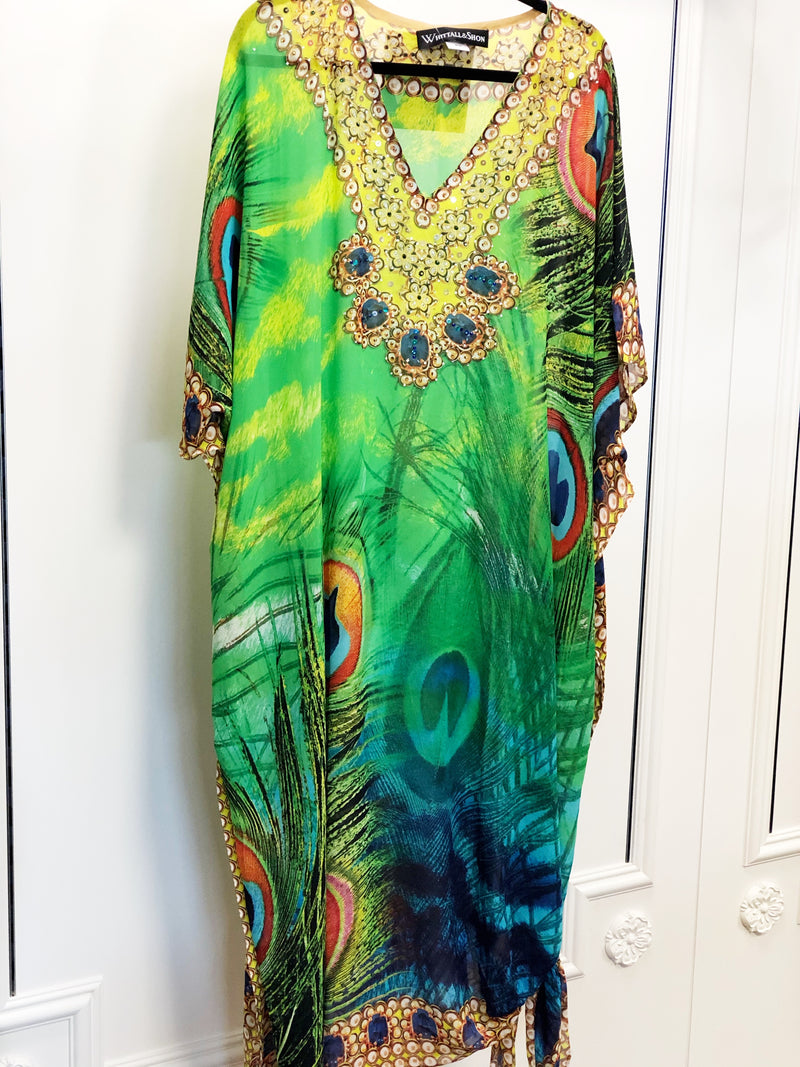 Silk Long Caftan Green Peacock Multi